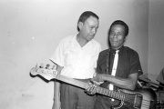 "William ""Baby Boy"" Harris with bass player Frank Flowers at Tom's Place at 648 South Holt Street in Montgomery, Alabama."