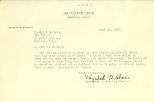 Letter from Bates College to W. E. B. Du Bois