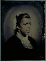African-American woman with gold necklace and earrings, Norwich