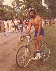 Man on bicycle at Lake Calhoun, Minneapolis