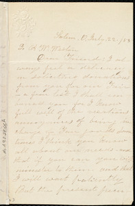 Letter from Emily Robinson, Salem, O[hio], to Anne Warren Weston, July 22 / [18]55
