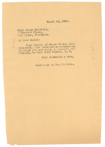 Letter from unidentified correspondent to Irene Marshall