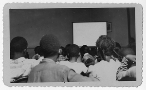Photograph of African American students viewing a film, Manchester, Georgia, 1953