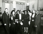 Selma Burke with Humbert Howard, Rex Goreleigh and Ellis Wilson at a Pyramid Club Art Exhibition