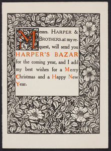 Greeting card for Harper's bazar, Harper & Brothers, New York, New York, undated