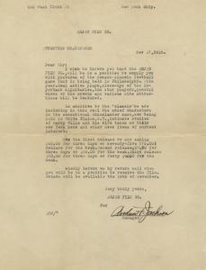 Letter: New York, New York, 1925 Nov. 17