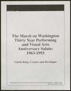 Presentation: The March on Washington Thirty Year Performing and Visual Arts Anniversary Salute: 1963-1993