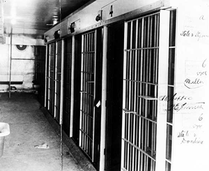 Cellblock in Duluth police station damaged by lynching mob.