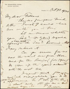 Baldwin, James Mark, 1861-1934 autograph letter signed to Hugo Münsterberg, Princeton, N.J., 10 October 1900