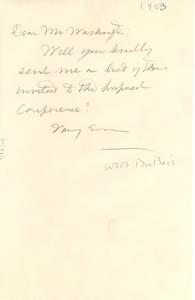 Letter from W. E. B. Du Bois to Booker T. Washington