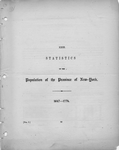Statistics of the population of the Province of New York: cover page