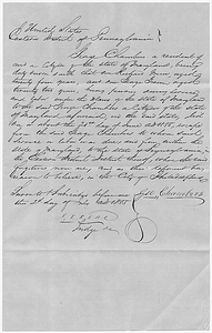 Affidavit of George Chambers in the Matter of Richard and George Green, Fugitive Slaves