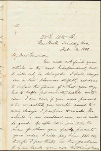 Letter from Oliver Johnson, New York, [N.Y.], to William Lloyd Garrison, Feb[ruary] 16, 1868