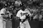 Bo Jackson with a teammate during a Birmingham Barons baseball game in Birmingham, Alabama.