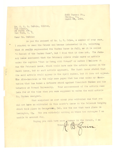 Letter from R. B. Quin to Editor of the Crisis