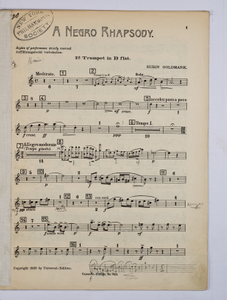 Goldmark, Rubin / NEGRO RHAPSODY, A, Trumpet PART.