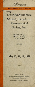 Program of the ... annual session of The Old North State Medical, Dental and Pharmaceutical Society [serial], 51st(1938)