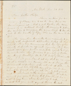 Letter from Elizur Wright, New York, to Amos Augustus Phelps, 1833 Dec[ember] 31