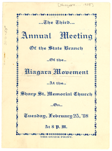 Niagara Movement-Maryland Branch Annual Meeting Program