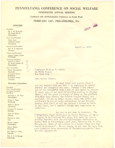 Letter from Pennsylvania Conference on Social Welfare to W. E. B. Du Bois