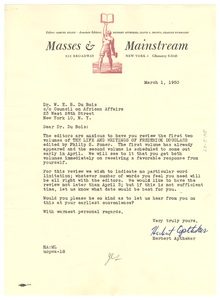 Letter from Masses & Mainstream to W. E. B. Du Bois