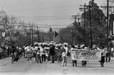 Marchers during the 20th anniversary reenactment of the Selma to Montgomery March in Selma, Alabama.