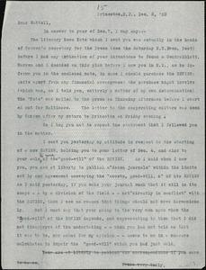 Baldwin, James Mark, 1861-1934 typed letter (copy) to J.Mc. K. Cattell, Princeton, N.J., 8 December 1903
