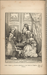 Illustration of a French parlor in which a small black child is riding on the back of the Duke of Orleans while three women look on