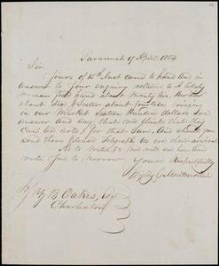 Wylly & Montmollin, Savannah, Ga., manuscript letter signed to Ziba B. Oakes, 17 April 1854