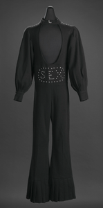 """Black """"Sex"""" jumpsuit owned by James Brown"""