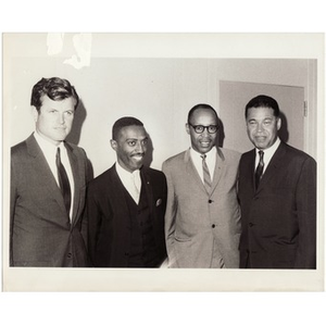 Senator Edward M. Kennedy, Reverend Michael E. Haynes, Virgil Wood, and Senator Edward W. Brooke.