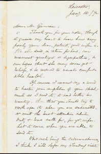Letter from Samuel May, Jr., Leicester, [Mass.], to William Lloyd Garrison, Jan[uary] 12 [18]72
