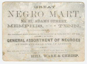 """Advertisement card for the """"Great Negro Mart"""" in Memphis, Tennessee"""