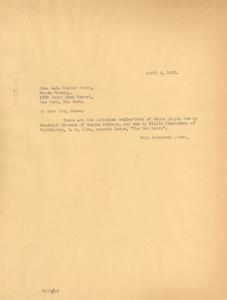 Letter from W. E. B. Du Bois to Lela Walker Jones
