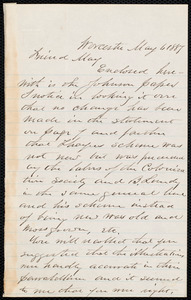 Letter from Joseph Avery Howland, Worcester, [Mass.], to Samuel May, May 6, 1887