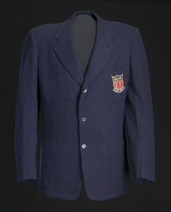 Blazer, tie, and belt worn by Ted Corbitt for the 1952 Helsinki XV Olympics