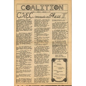 Coalition, Volume 1, Number 5, February 9, 1975