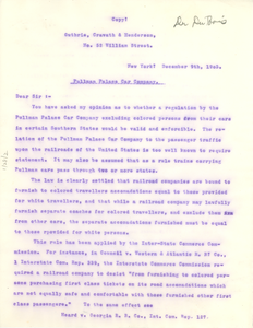 Letter from Paul D. Cravath to Booker T. Washington