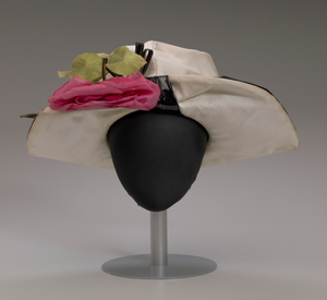 Cream and black hat with pink rose decoration from Mae's Millinery Shop