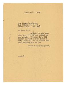 Letter from W. E. B. Du Bois to James Lockhart, Jr.