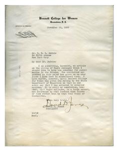 Letter from David D. Jones to W. E. B. Du Bois