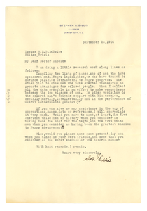 Letter from Stephen A. Gillis to W. E. B. Du Bois