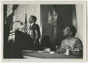 Andrew Young, Septima P. Clark at Southern Christian Leadership Conference Retirement Banquet, 1970