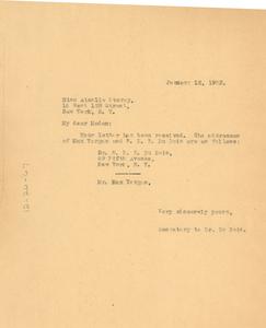 Letter from unidentified correspondent to Ainslie Storey