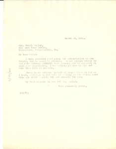 Letter from W. E. B. Du Bois to Pearl Bailey