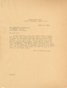 Letter from W. E. B. Du Bois to Albert N. Warner Sr.