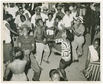 [Pavilion scene, Carr's Beach, July, 1956. Many young people dancing] [black and white photoprint]