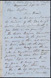 Draft of letter from Anne Warren Weston, Weymouth, [Mass.], to Eliza Wigham, Sept. 15, 1850