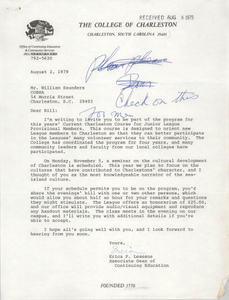 Letter from Erica P. Lesesne to William Saunders, August 2, 1979