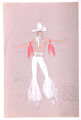 Costume design drawing, male dancer in a cowboy costume for Pzazz! 70, Las Vegas, circa 1970